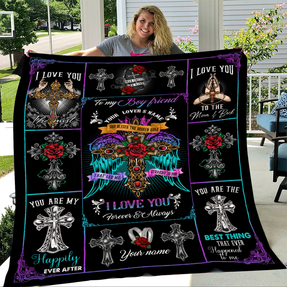 Personalized Lovely Quilt Throw Blanket To My Boyfriend I Love You The Most Pattern 2 Lightweight Super Soft Cozy For Decorative Couch Sofa Bed