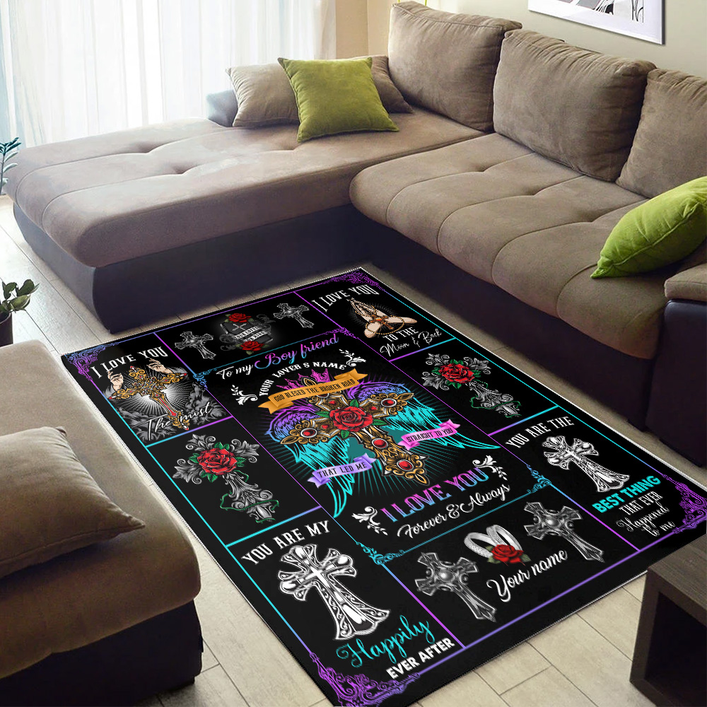 Personalized Lovely To My Boyfriend I Love You The Most Pattern 2 Vintage Area Rug Anti-Skid Floor Carpet For Living Room Dinning Room Bedroom Office