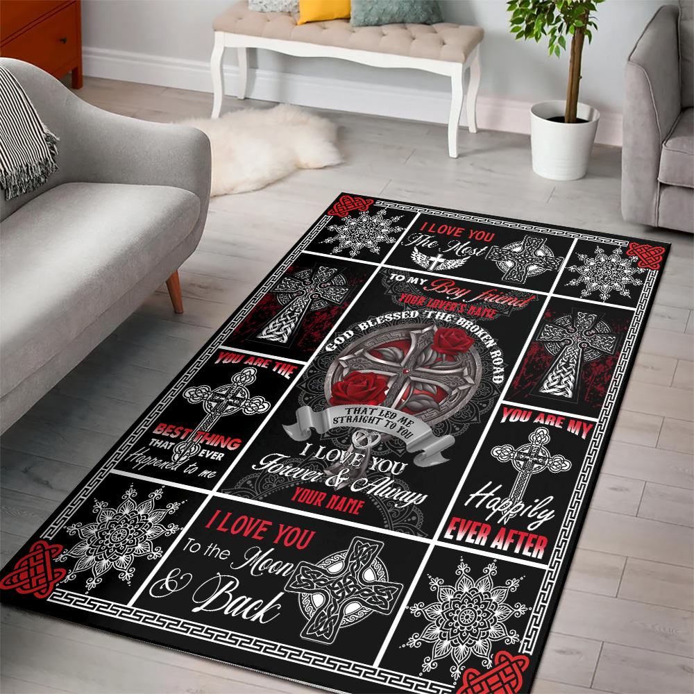 Personalized Lovely To My Boyfriend I Love You The Most Pattern 1 Vintage Area Rug Anti-Skid Floor Carpet For Living Room Dinning Room Bedroom Office