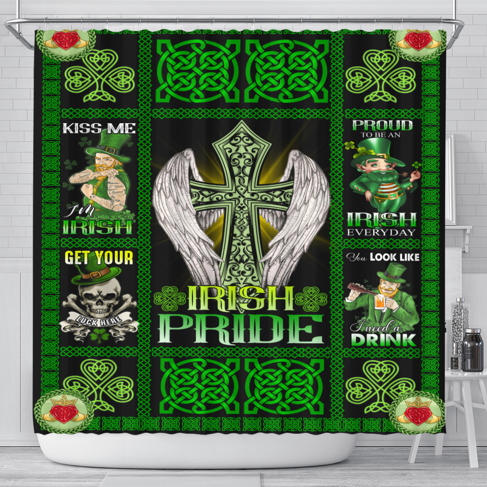 Personalized Lovely Shower Curtain St Patrick's Day Heart Irish Pride  Pattern 1 Set 12 Hooks Decorative Bath Modern Bathroom Accessories Machine Washable