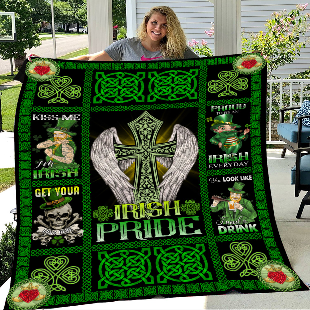 Personalized Lovely Quilt Throw Blanket St Patrick's Day Heart Irish Pride  Pattern 1 Lightweight Super Soft Cozy For Decorative Couch Sofa Bed