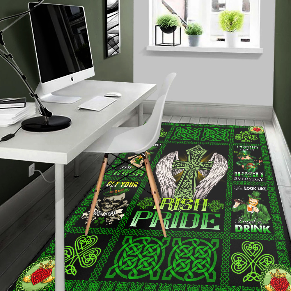 Personalized Lovely St Patrick's Day Heart Irish Pride  Pattern 1 Vintage Area Rug Anti-Skid Floor Carpet For Living Room Dinning Room Bedroom Office