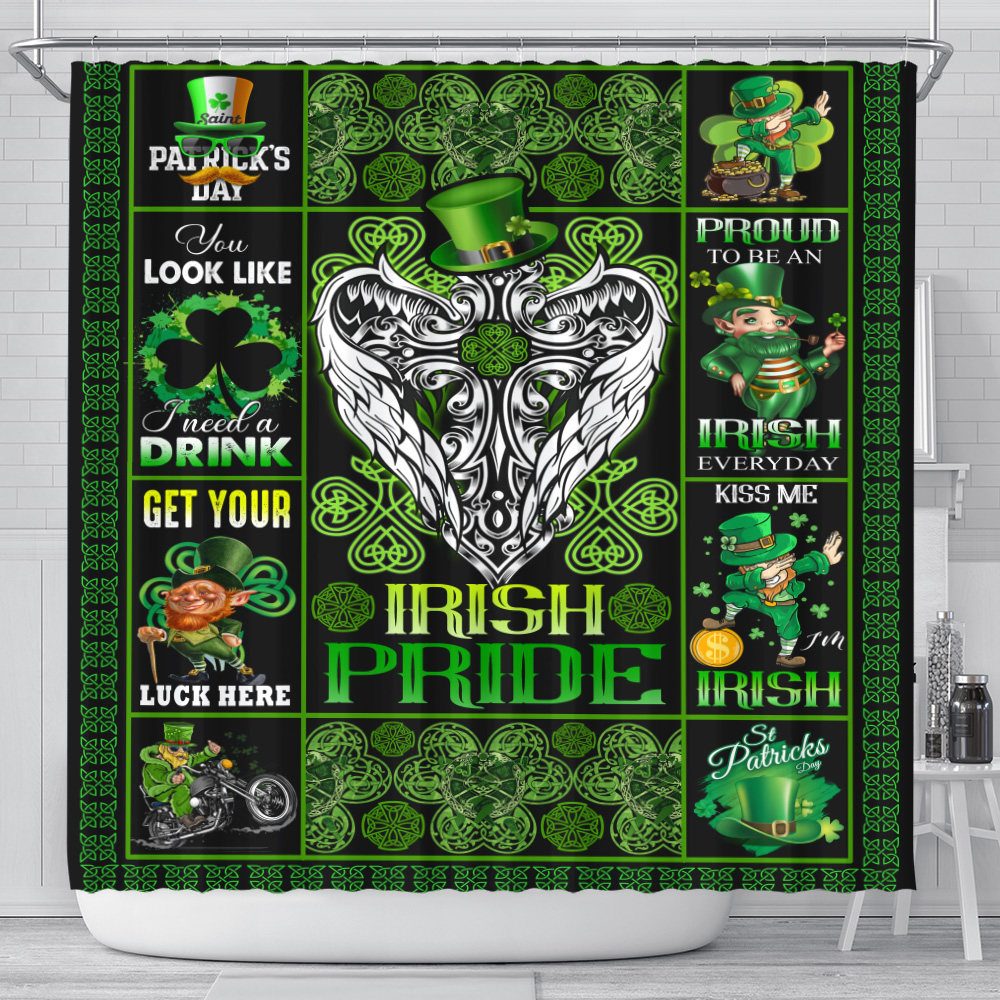 Personalized Lovely Shower Curtain St Patrick's Day Heart Irish Pride  Pattern 2 Set 12 Hooks Decorative Bath Modern Bathroom Accessories Machine Washable