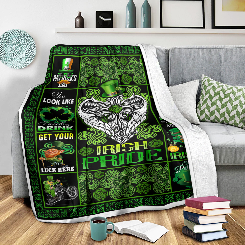 Personalized Lovely Fleece Throw Blanket St Patrick's Day Heart Irish Pride Pattern 2 Lightweight Super Soft Cozy For Decorative Couch Sofa Bed