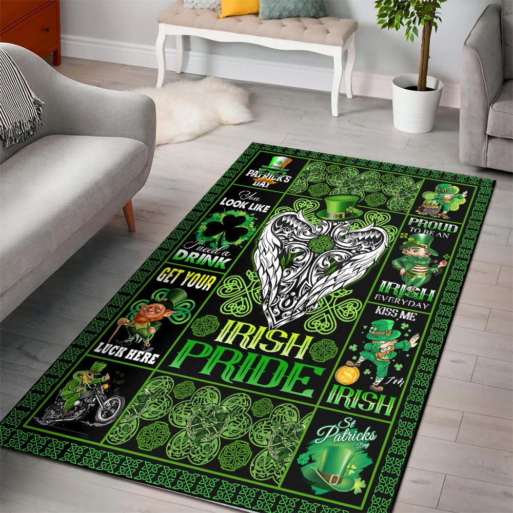 Personalized Lovely St Patrick's Day Heart Irish Pride Pattern 2 Vintage Area Rug Anti-Skid Floor Carpet For Living Room Dinning Room Bedroom Office