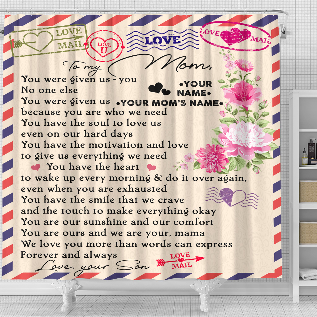 Personalized Lovely Shower Curtain To My Mom Love You More Than Words Can Express Pattern 2 Set 12 Hooks Decorative Bath Modern Bathroom Accessories Machine Washable