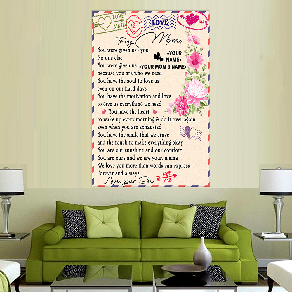 Personalized Lovely Wall Art Poster To My Mom Love You More Than Words Can Express Pattern 2 Prints Decoracion Wall Art Picture Living Room Wall