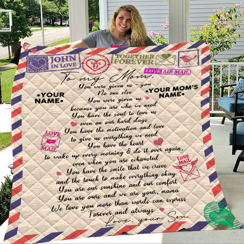 Personalized Lovely Quilt Throw Blanket To My Mom Love You More Than Words Can Express Pattern 1 Lightweight Super Soft Cozy For Decorative Couch Sofa Bed