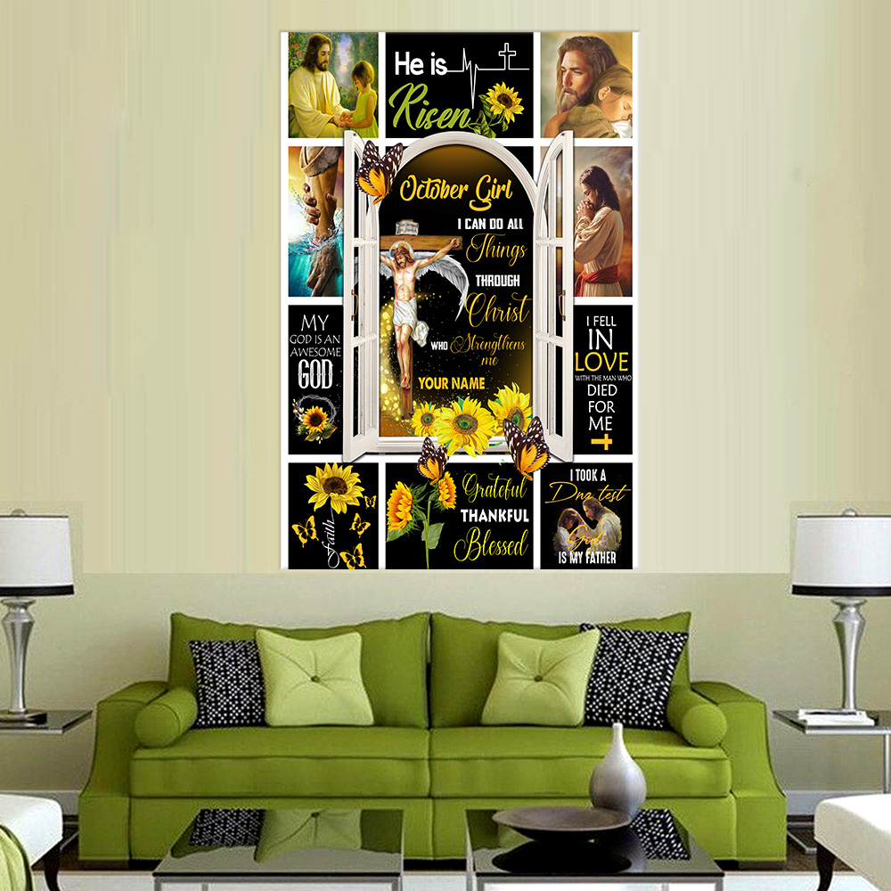 Personalized Wall Art Poster October Girl I Can Do All Things Through Christ Who Strengthens Me Pattern 1 Prints Decoracion Wall Art Picture Living Room Wall