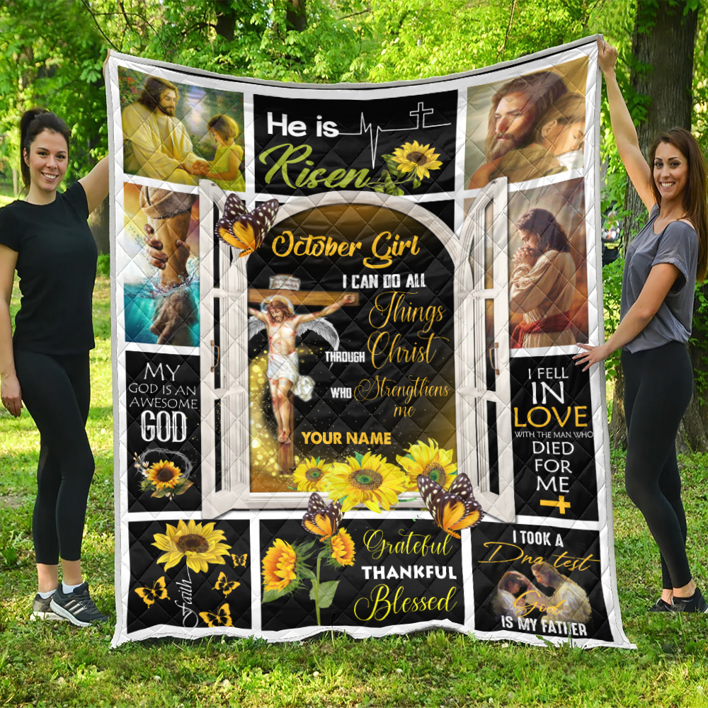 Personalized Quilt Throw Blanket October Girl I Can Do All Things Through Christ Who Strengthens Me Pattern 1 Lightweight Super Soft Cozy For Decorative Couch Sofa Bed