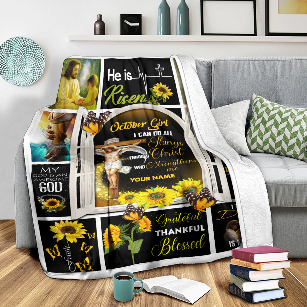 Personalized Fleece Throw Blanket October Girl I Can Do All Things Through Christ Who Strengthens Me Pattern 1 Lightweight Super Soft Cozy For Decorative Couch Sofa Bed