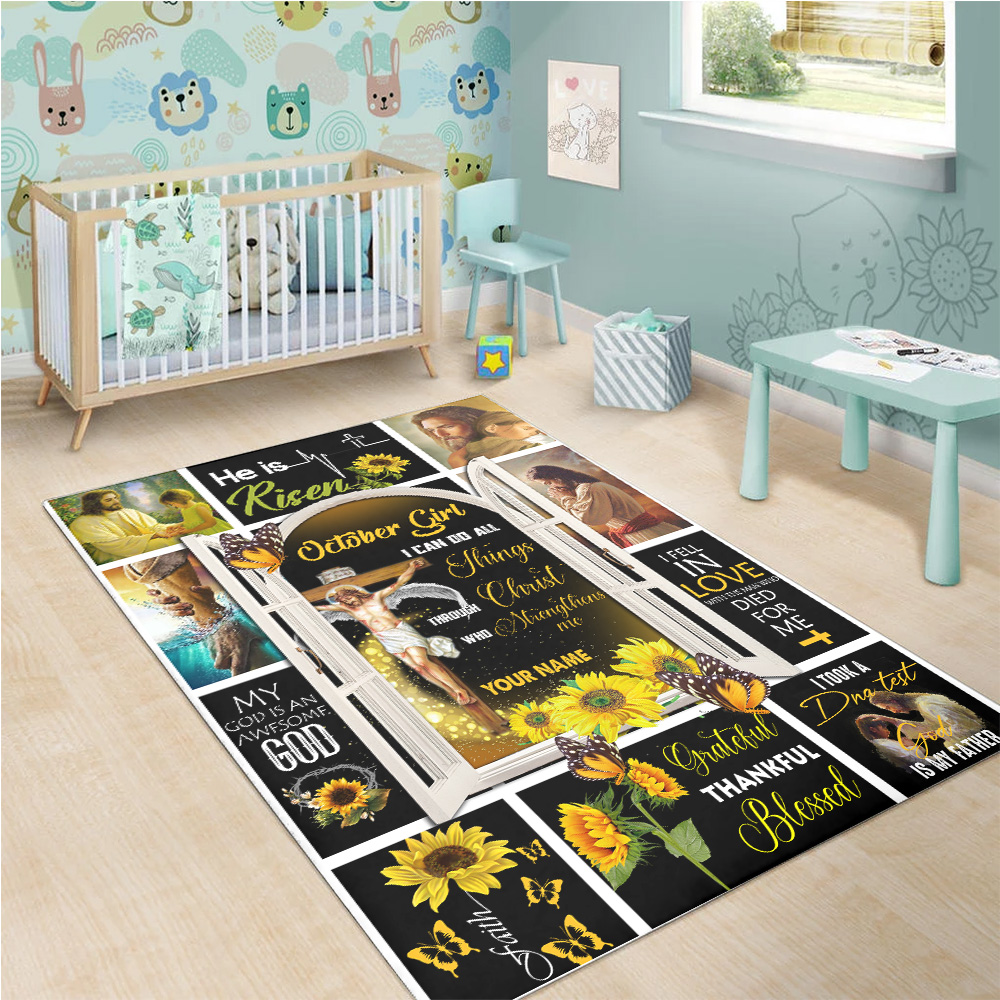 Personalized October Girl I Can Do All Things Through Christ Who Strengthens Me Pattern 1 Vintage Area Rug Anti-Skid Floor Carpet For Living Room Dinning Room Bedroom Office