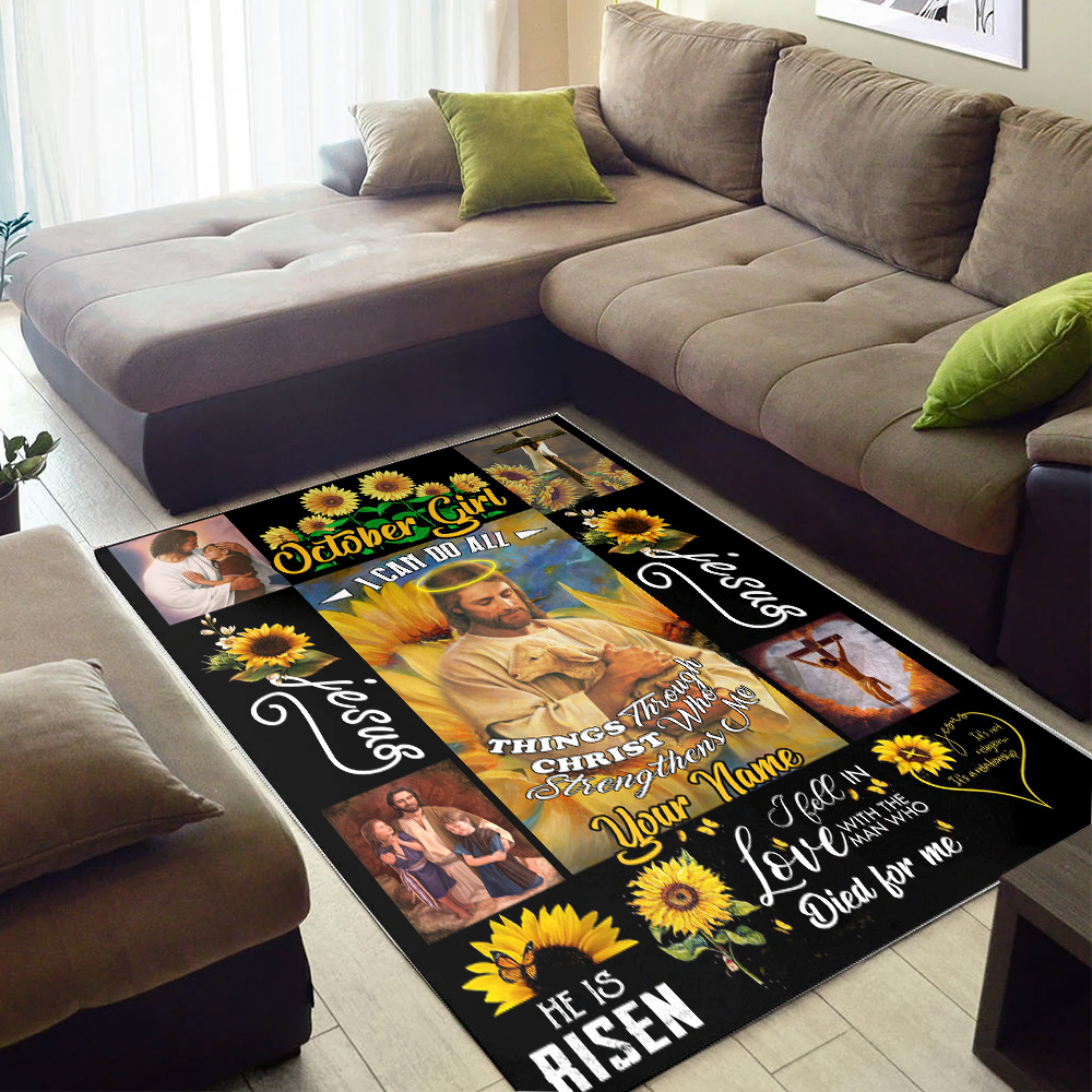 Personalized October Girl I Can Do All Things Through Christ Who Strengthens Me Pattern 2 Vintage Area Rug Anti-Skid Floor Carpet For Living Room Dinning Room Bedroom Office
