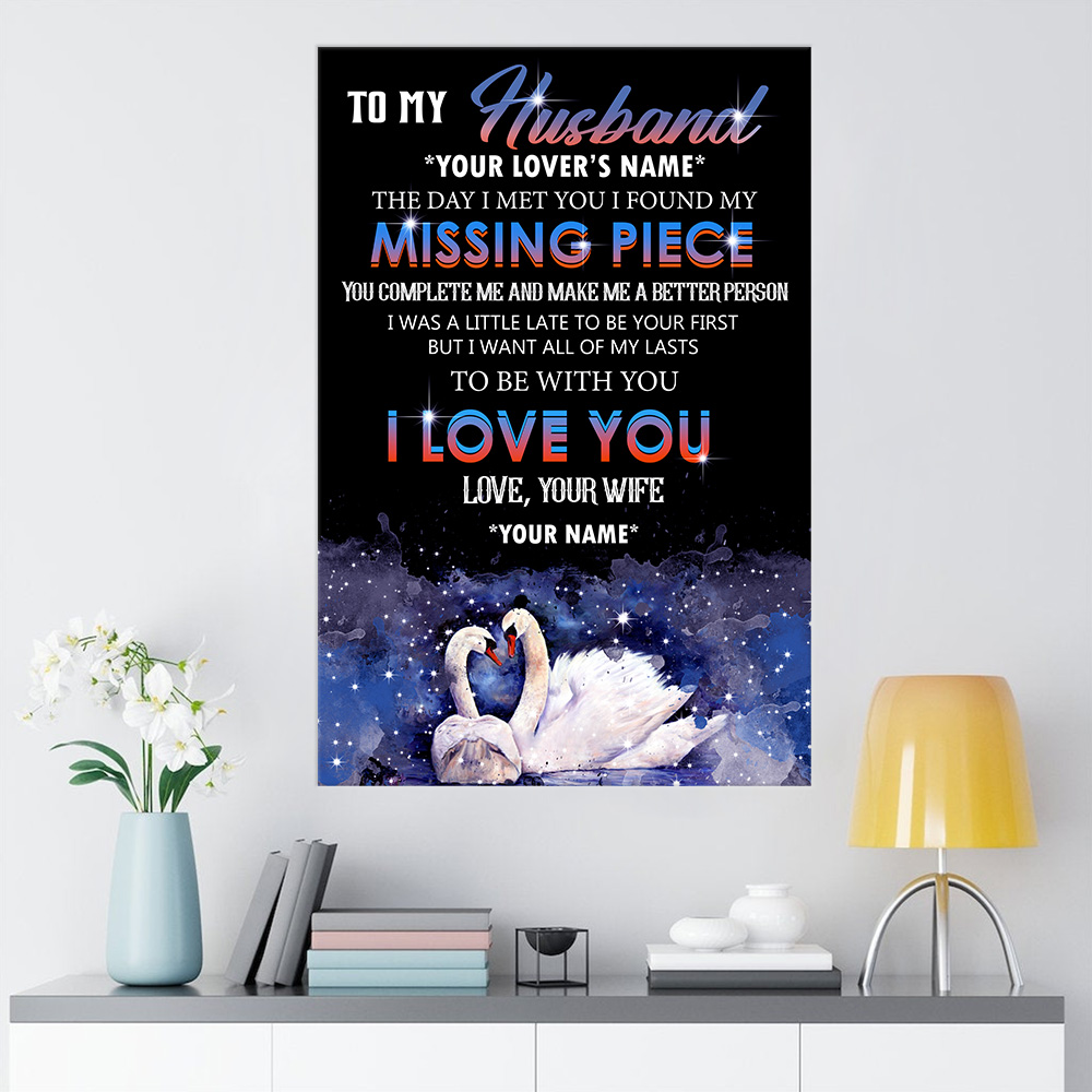 Personalized Wall Art Poster Canvas 1 Panel To My  Husband  To Be With You I Love You Pattern 2 Great Idea For Living Home Decorations Birthday Christmas Aniversary