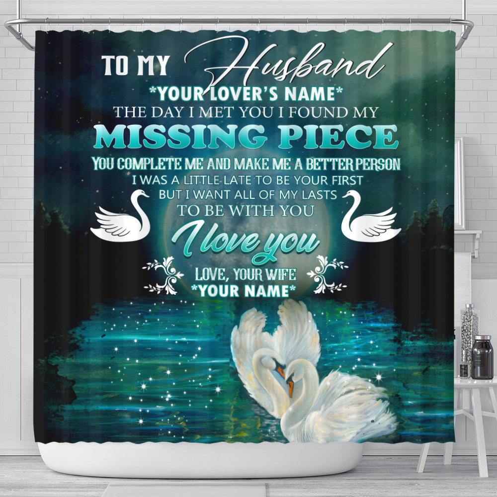 Personalized Shower Curtain 71 X 71 Inch To My  Husband  To Be With You I Love You Pattern 1 Set 12 Hooks Decorative Bath Modern Bathroom Accessories Machine Washable