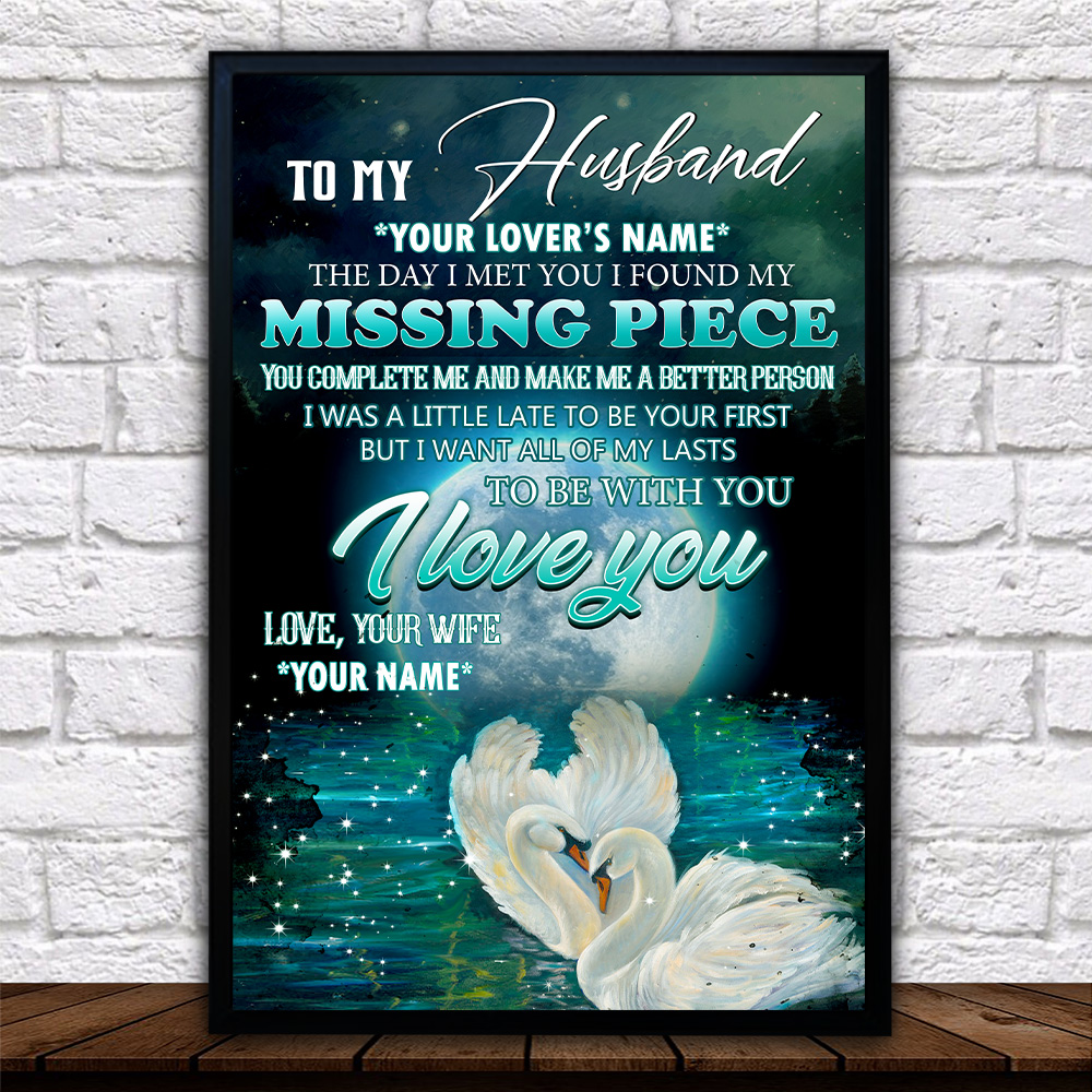 Personalized Wall Art Poster Canvas 1 Panel To My  Husband  To Be With You I Love You Pattern 1 Great Idea For Living Home Decorations Birthday Christmas Aniversary
