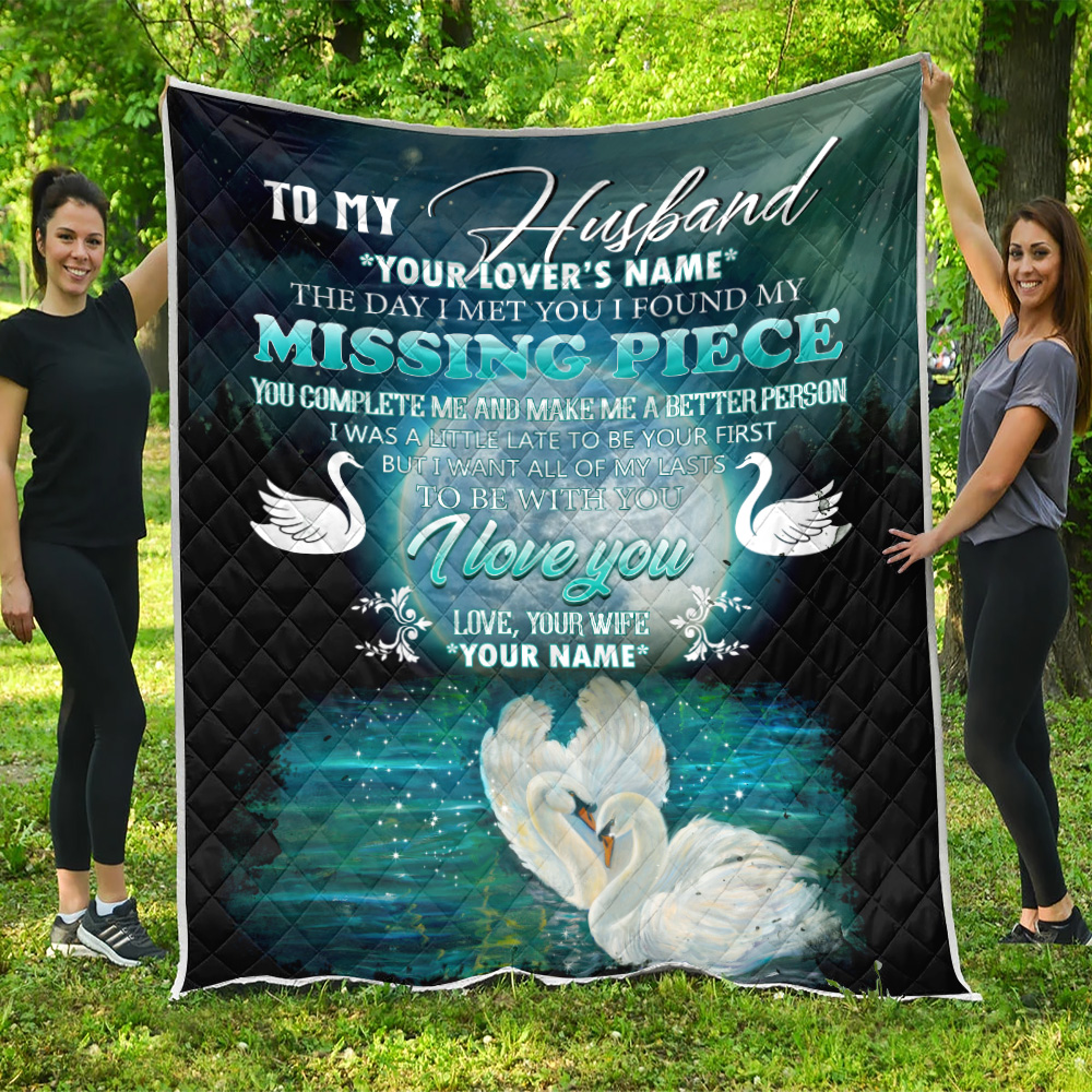 Personalized Quilt Throw Blanket To My  Husband  To Be With You I Love You Pattern 1 Lightweight Super Soft Cozy For Decorative Couch Sofa Bed