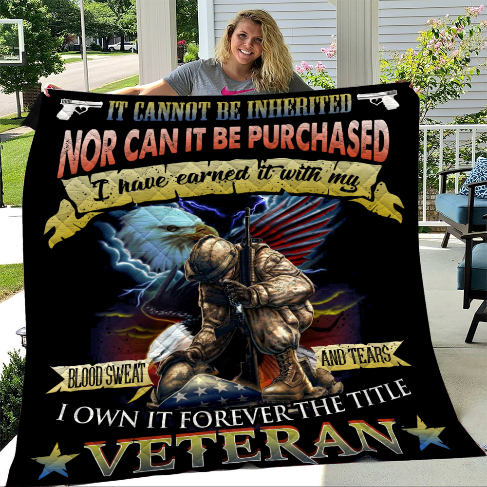 Personalized Quilt Throw Blanket It Cannot Be Inherited Veteran Pattern 1 Lightweight Super Soft Cozy For Decorative Couch Sofa Bed