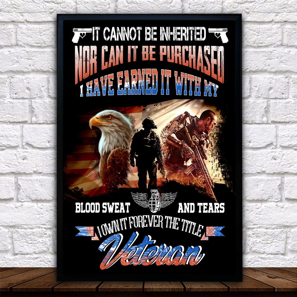 Personalized Wall Art Poster Canvas 1 Panel It Cannot Be Inherited Veteran Pattern 2 Great Idea For Living Home Decorations Birthday Christmas Aniversary