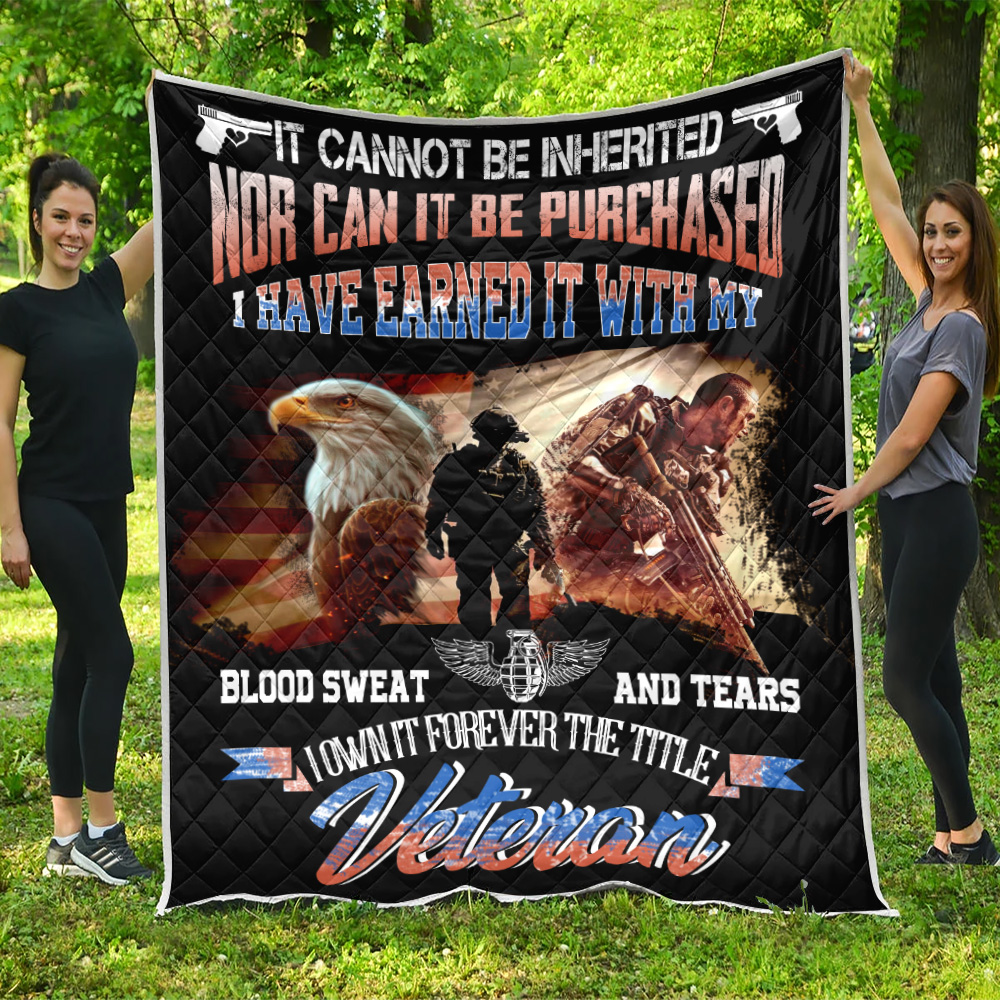 Personalized Quilt Throw Blanket It Cannot Be Inherited Veteran Pattern 2 Lightweight Super Soft Cozy For Decorative Couch Sofa Bed