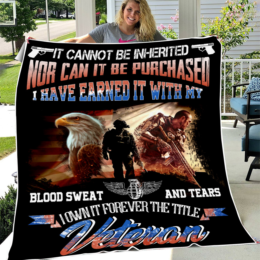 Personalized Fleece Throw Blanket It Cannot Be Inherited Veteran Pattern 2 Lightweight Super Soft Cozy For Decorative Couch Sofa Bed