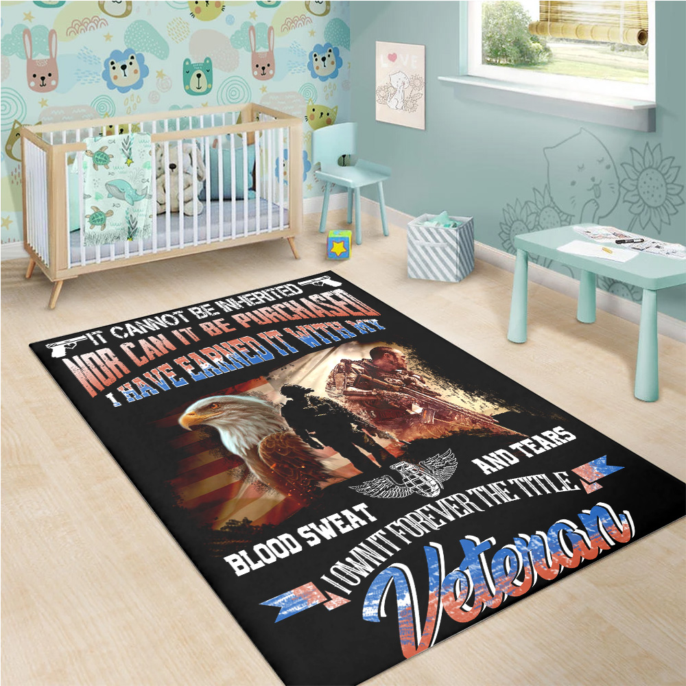 Personalized Floor Area Rugs It Cannot Be Inherited Veteran Pattern 2 Indoor Home Decor Carpets Suitable For Children Living Room Bedroom Birthday Christmas Aniversary