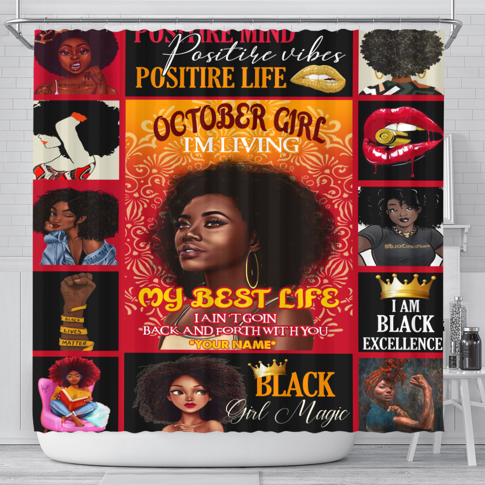 Personalized Shower Curtain October Girl I'm Living My Best Life Pattern 1 Set 12 Hooks Decorative Bath Modern Bathroom Accessories Machine Washable