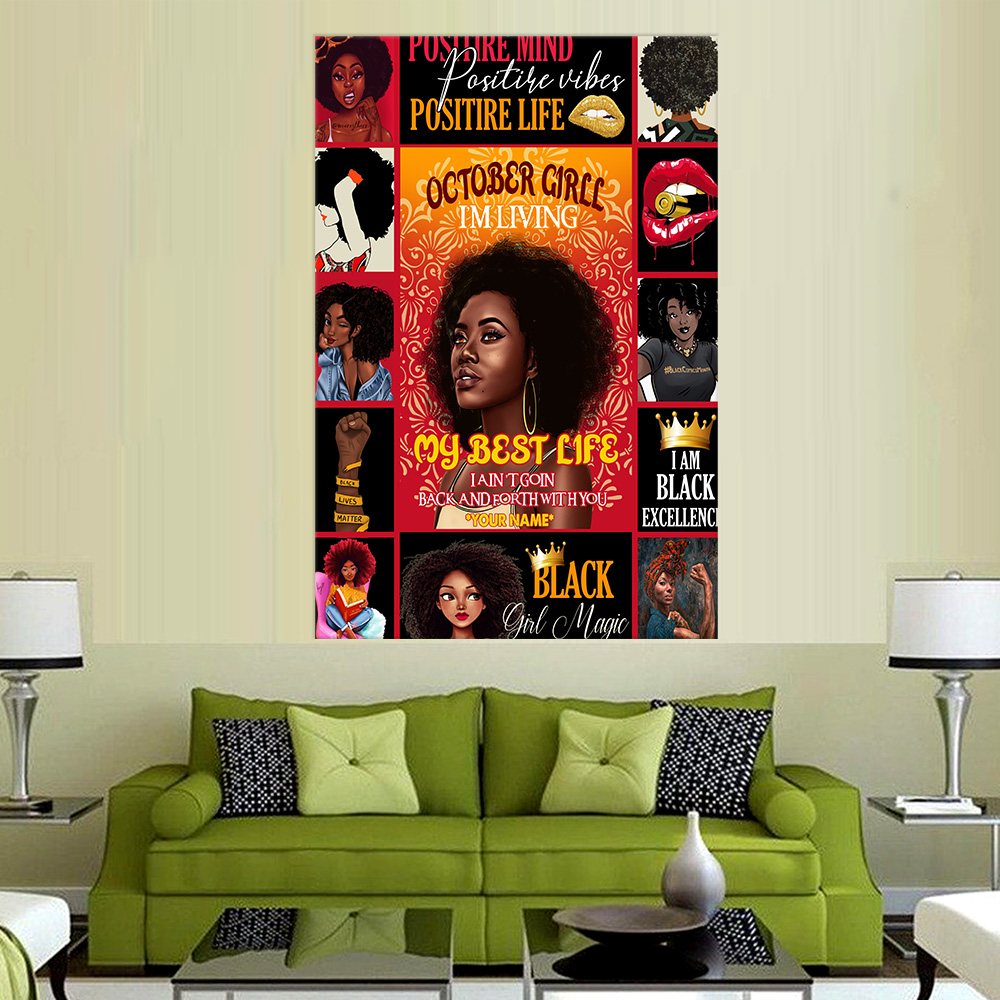 Personalized Wall Art Poster October Girl I'm Living My Best Life Pattern 1 Prints Decoracion Wall Art Picture Living Room Wall
