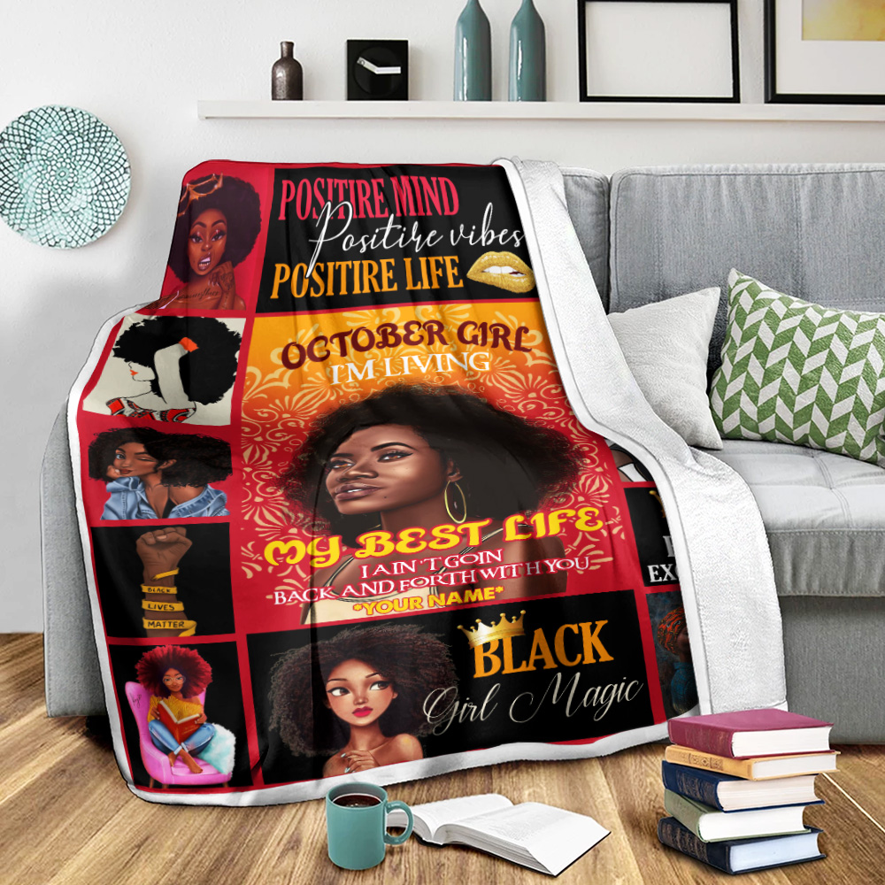 Personalized Fleece Throw Blanket October Girl I'm Living My Best Life Pattern 1 Lightweight Super Soft Cozy For Decorative Couch Sofa Bed