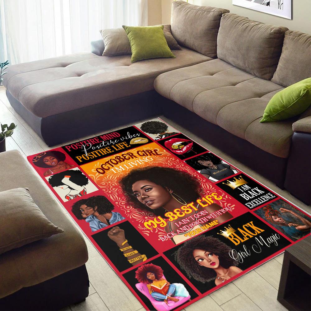 Personalized October Girl I'm Living My Best Life Pattern 1 Vintage Area Rug Anti-Skid Floor Carpet For Living Room Dinning Room Bedroom Office