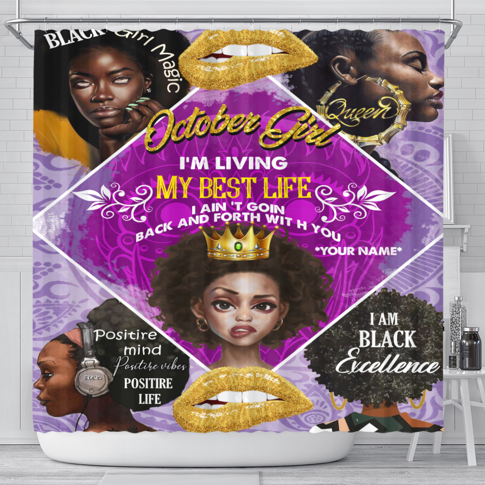 Personalized Shower Curtain October Girl I'm Living My Best Life Pattern 2 Set 12 Hooks Decorative Bath Modern Bathroom Accessories Machine Washable