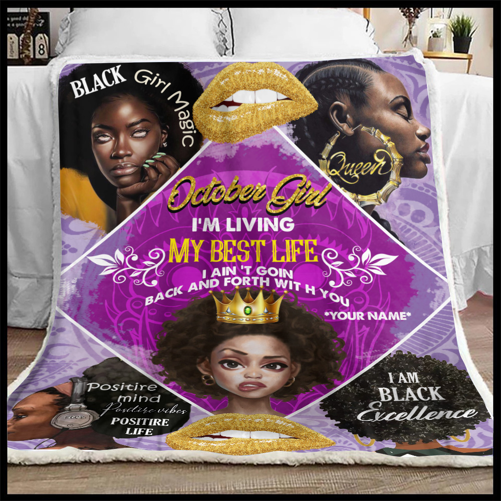 Personalized Fleece Throw Blanket October Girl I'm Living My Best Life Pattern 2 Lightweight Super Soft Cozy For Decorative Couch Sofa Bed