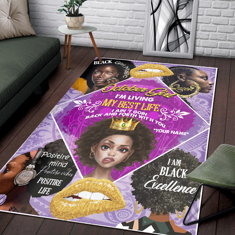 Personalized October Girl I'm Living My Best Life Pattern 2 Vintage Area Rug Anti-Skid Floor Carpet For Living Room Dinning Room Bedroom Office
