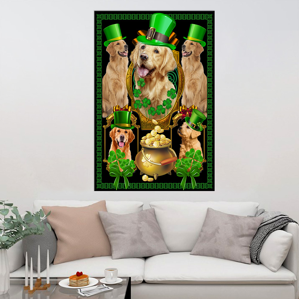 Personalized Lovely Wall Art Poster St Patrick's Day Heart Irish Shamrock Dog Golden Retriever Pattern 1 Prints Decoracion Wall Art Picture Living Room Wall