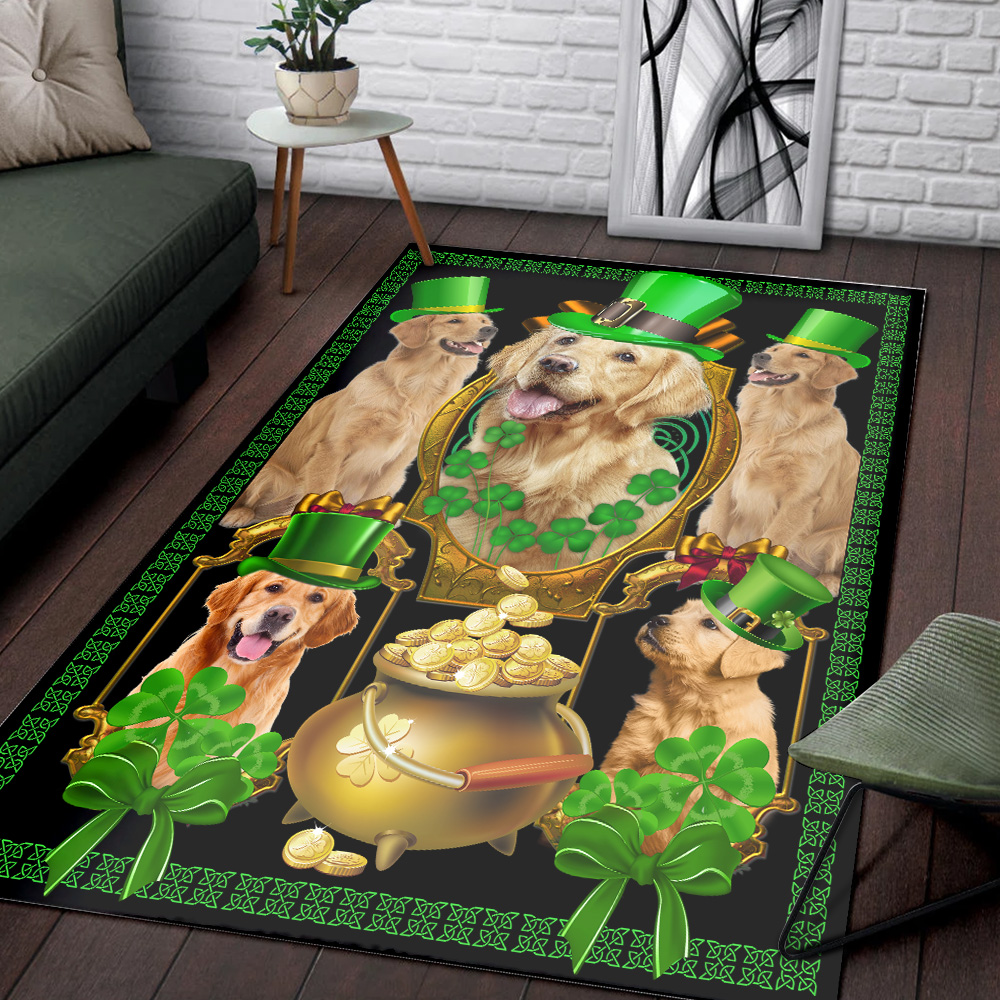 Personalized Lovely St Patrick's Day Heart Irish Shamrock Dog Golden Retriever Pattern 1 Vintage Area Rug Anti-Skid Floor Carpet For Living Room Dinning Room Bedroom Office