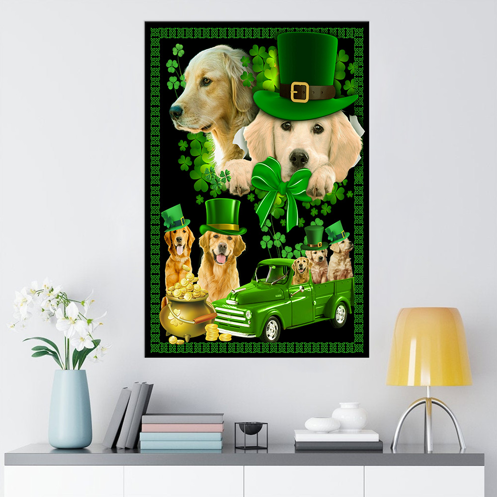 Personalized Lovely Wall Art Poster St Patrick's Day Heart Irish Shamrock Dog Golden Retriever Pattern 2 Prints Decoracion Wall Art Picture Living Room Wall