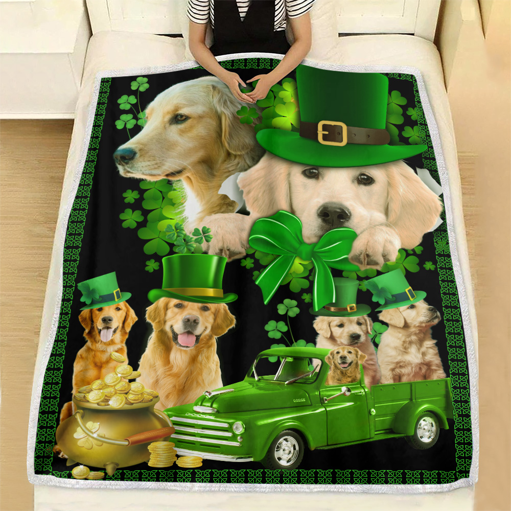 Personalized Lovely Fleece Throw Blanket St Patrick's Day Heart Irish Shamrock Dog Golden Retriever Pattern 2 Lightweight Super Soft Cozy For Decorative Couch Sofa Bed