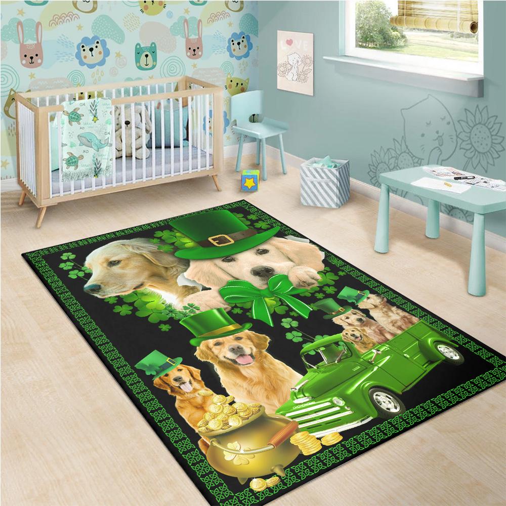 Personalized Lovely St Patrick's Day Heart Irish Shamrock Dog Golden Retriever Pattern 2 Vintage Area Rug Anti-Skid Floor Carpet For Living Room Dinning Room Bedroom Office