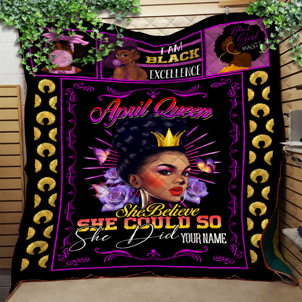 Personalized Quilt Throw Blanket April Queen She Belive She Could So She Did Pattern 1 Lightweight Super Soft Cozy For Decorative Couch Sofa Bed