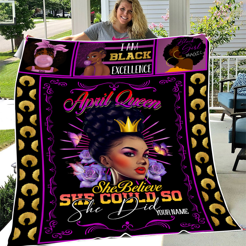 Personalized Fleece Throw Blanket April Queen She Belive She Could So She Did Pattern 1 Lightweight Super Soft Cozy For Decorative Couch Sofa Bed