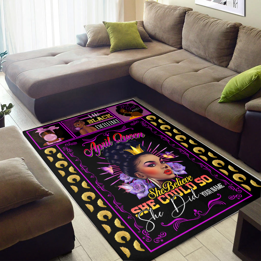 Personalized April Queen She Belive She Could So She Did Pattern 1 Vintage Area Rug Anti-Skid Floor Carpet For Living Room Dinning Room Bedroom Office