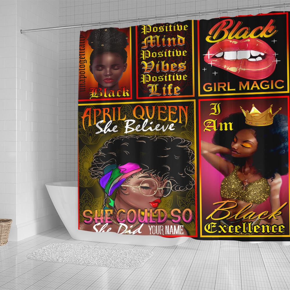 Personalized Shower Curtain April Queen She Belive She Could So She Did Pattern  2 Set 12 Hooks Decorative Bath Modern Bathroom Accessories Machine Washable