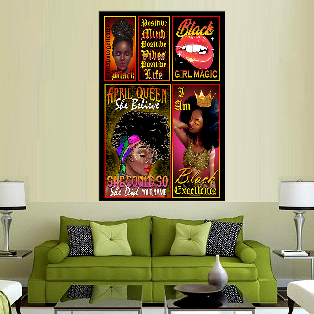 Personalized Wall Art Poster April Queen She Belive She Could So She Did Pattern 2 Prints Decoracion Wall Art Picture Living Room Wall