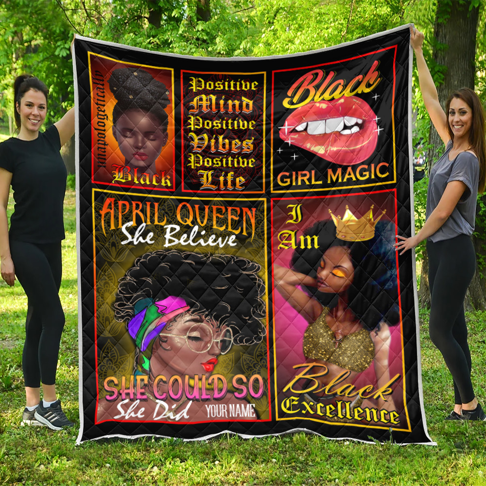 Personalized Quilt Throw Blanket April Queen She Belive She Could So She Did Pattern 2 Lightweight Super Soft Cozy For Decorative Couch Sofa Bed