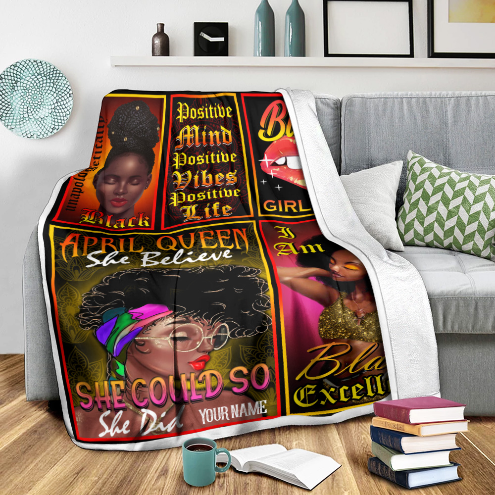 Personalized Fleece Throw Blanket April Queen She Belive She Could So She Did Pattern 2 Lightweight Super Soft Cozy For Decorative Couch Sofa Bed
