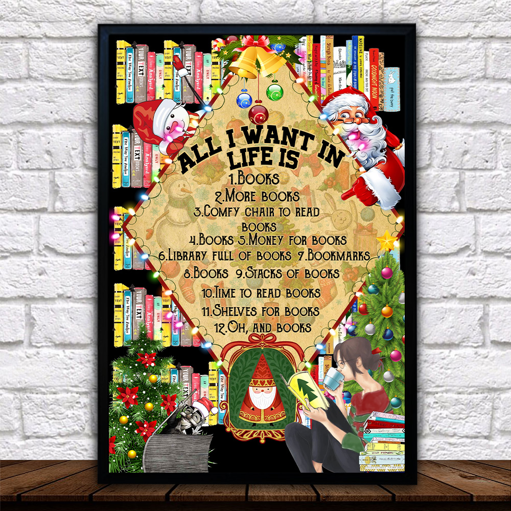 Personalized Wall Art Poster Canvas 1 Panel All I Want For Christmas Is Books Pattern 1 Great Idea For Living Home Decorations Birthday Christmas Aniversary