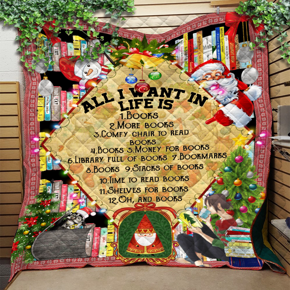 Personalized Quilt Throw Blanket All I Want For Christmas Is Books Pattern 1 Lightweight Super Soft Cozy For Decorative Couch Sofa Bed