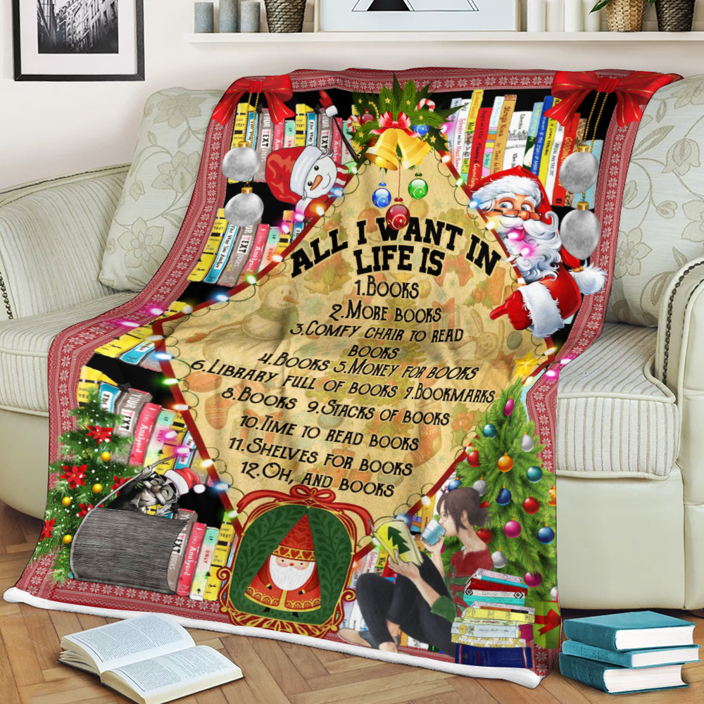 Personalized Fleece Throw Blanket All I Want For Christmas Is Books Pattern 1 Lightweight Super Soft Cozy For Decorative Couch Sofa Bed