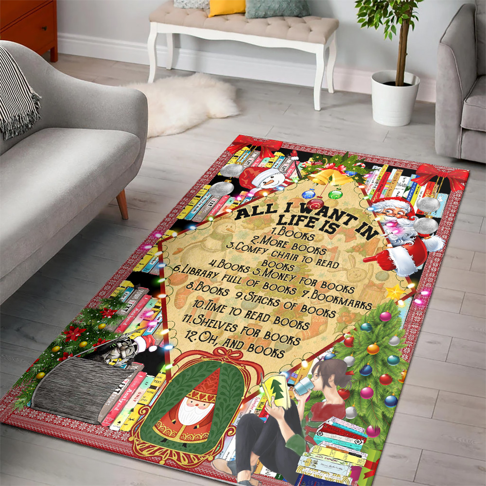 Personalized Floor Area Rugs All I Want For Christmas Is Books Pattern 1 Indoor Home Decor Carpets Suitable For Children Living Room Bedroom Birthday Christmas Aniversary