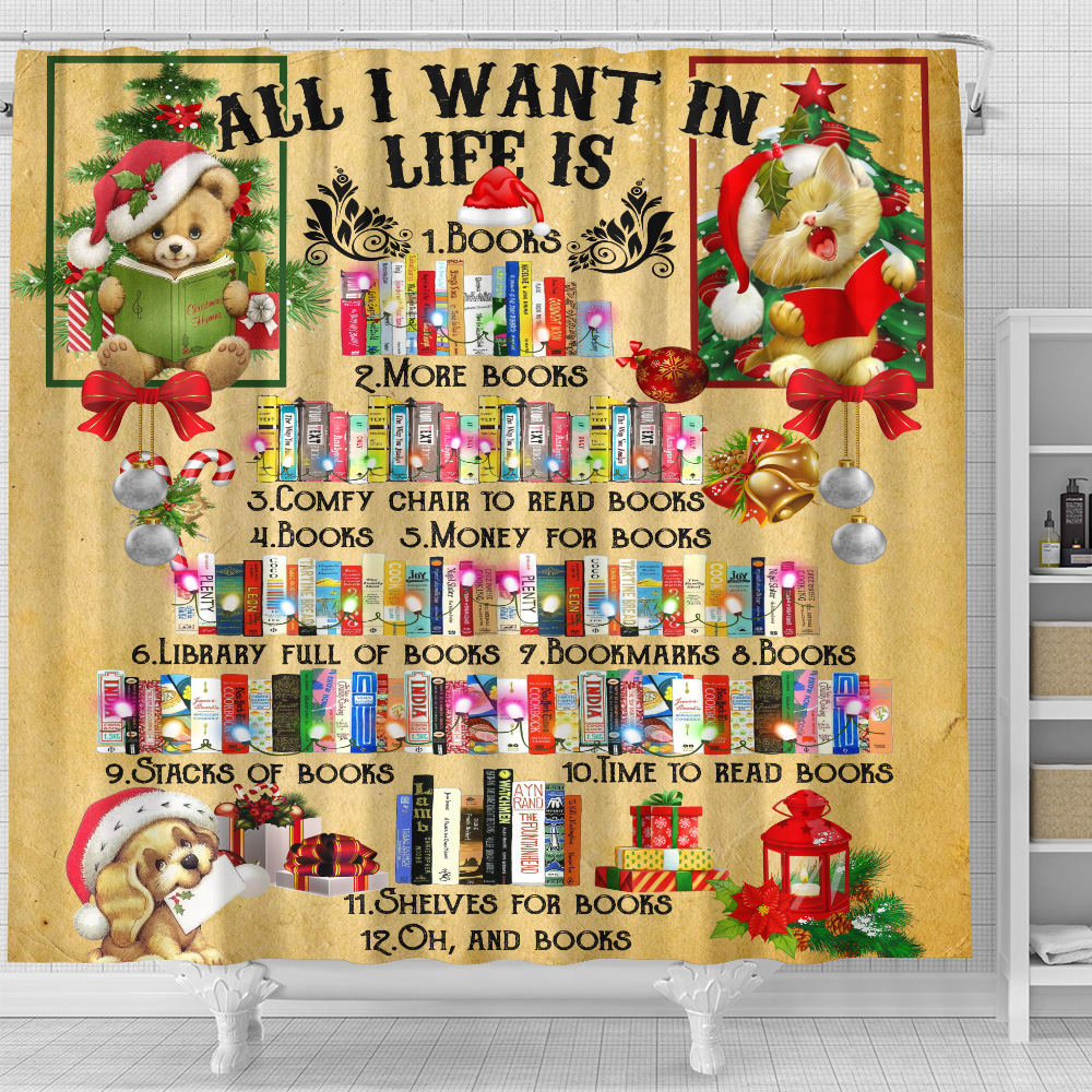 Personalized Shower Curtain 71 X 71 Inch All I Want For Christmas Is Books Pattern 2 Set 12 Hooks Decorative Bath Modern Bathroom Accessories Machine Washable